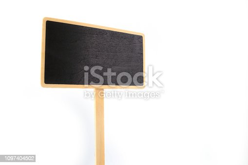 923869178 istock photo a blank blackboard label isolated on a white background 1097404502