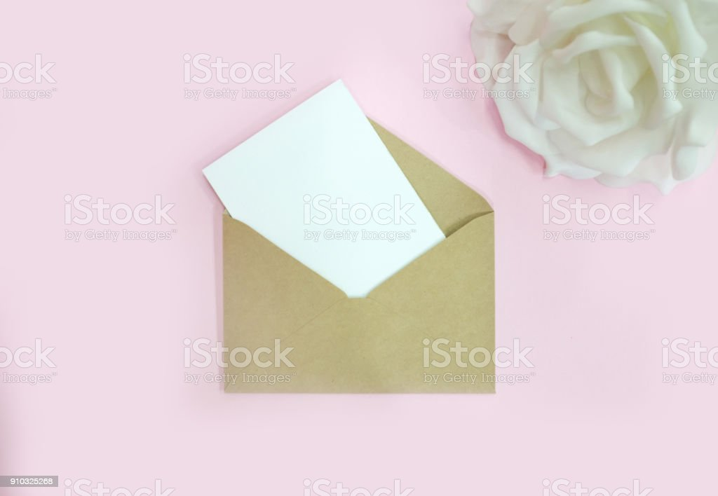 a blank letter on the desk stock photo