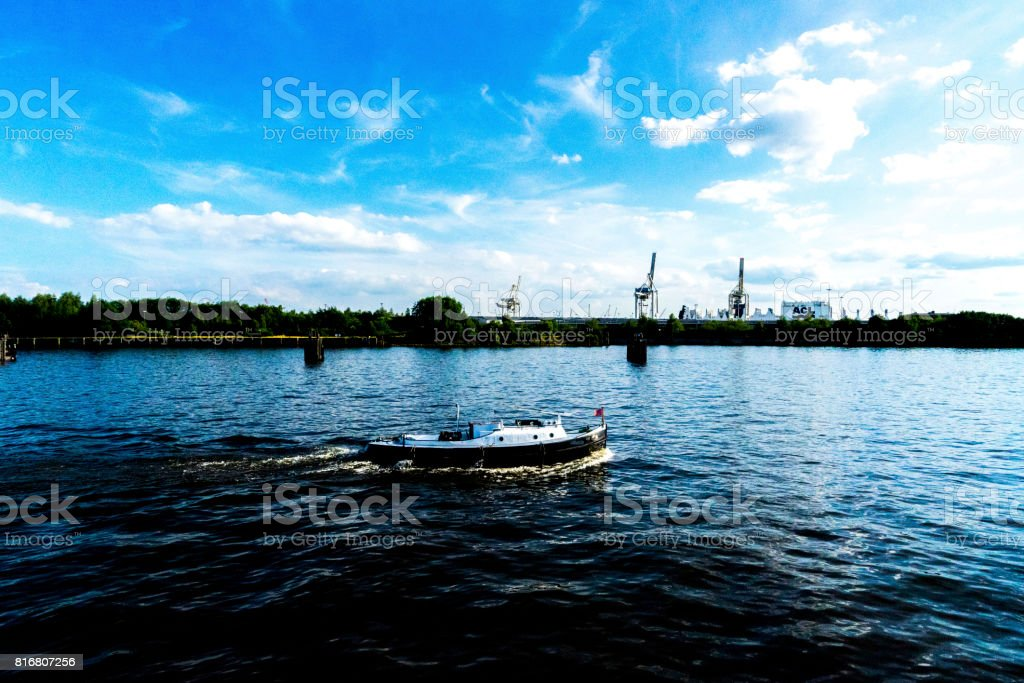 a boat on a River stock photo