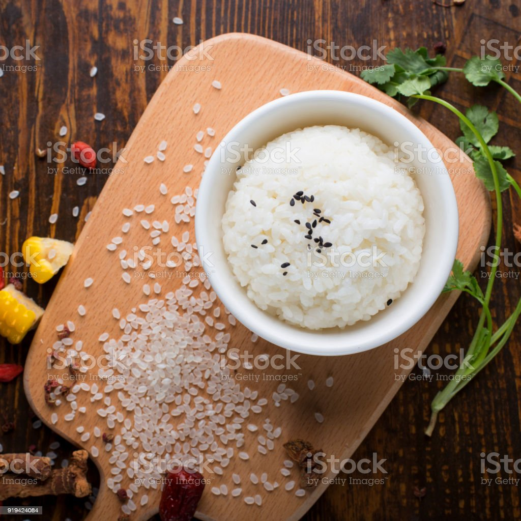 a bowl of rice stock photo