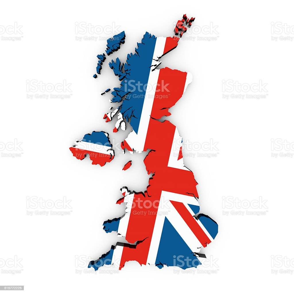 a British flag in the shape of the country of Great Britain stock photo