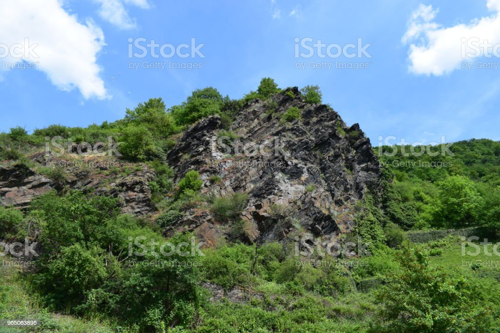a broken of rock formation at Moseltal royalty-free stock photo