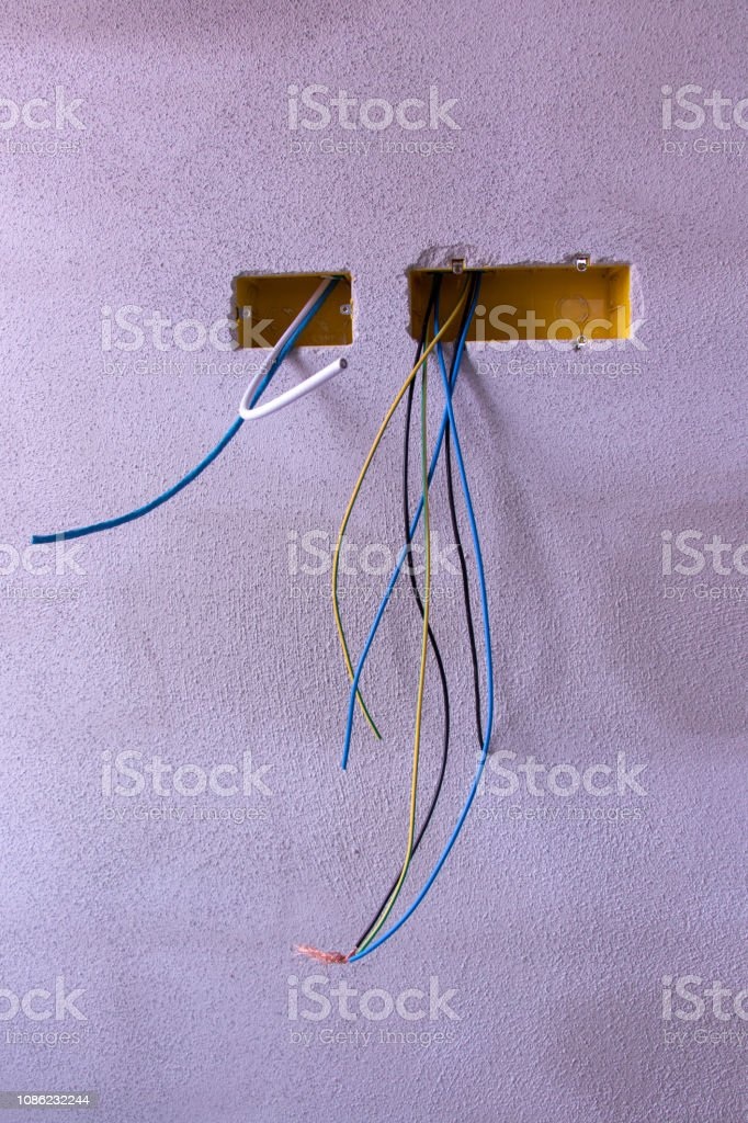 a bunch of different electric cables stock photo