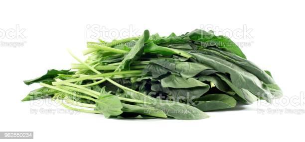Foto de Um Molho De Espinafres Frescos No Fundo Branco e mais fotos de stock de Alimentação Saudável