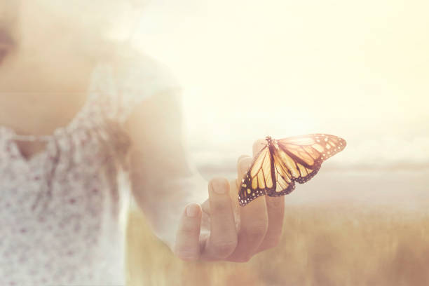 a butterfly leans on a hand of a girl in the middle of nature stock photo