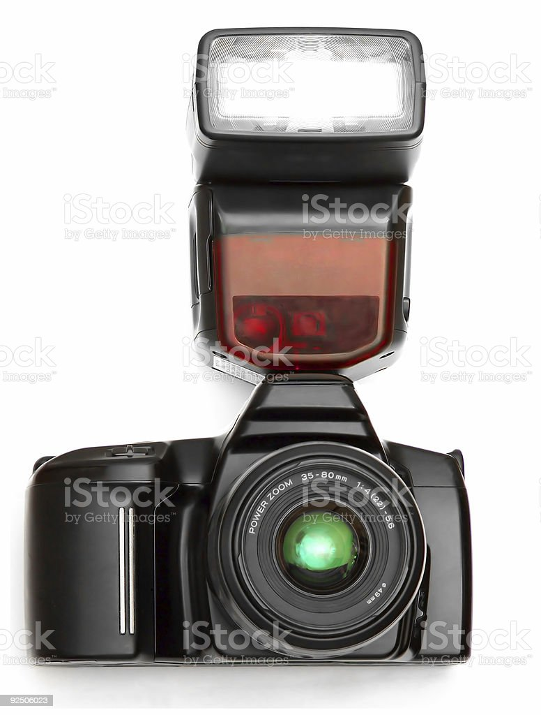 a camera with flash royalty-free stock photo