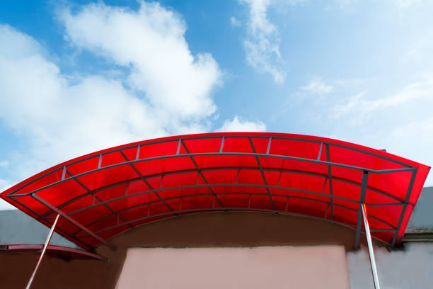 a canopy made of polycarbonate polycarbonate canopy on the porch of the house canopy stock pictures, royalty-free photos & images