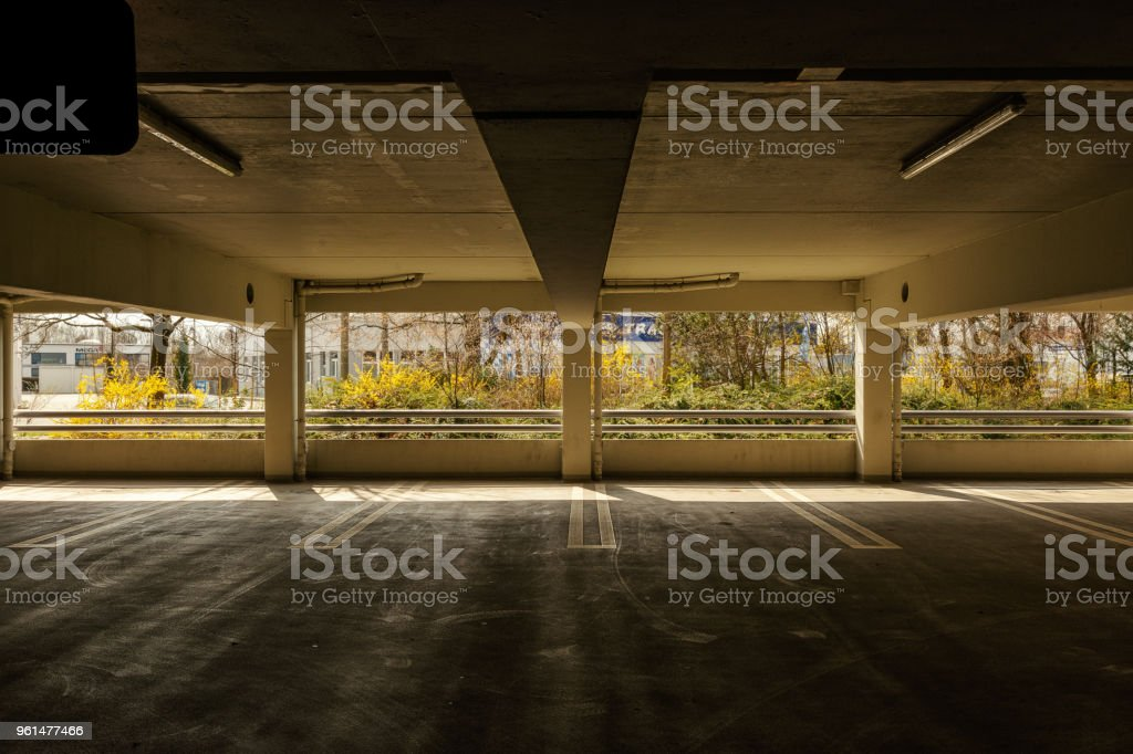 a car park in a industrial estate in ratisbon stock photo
