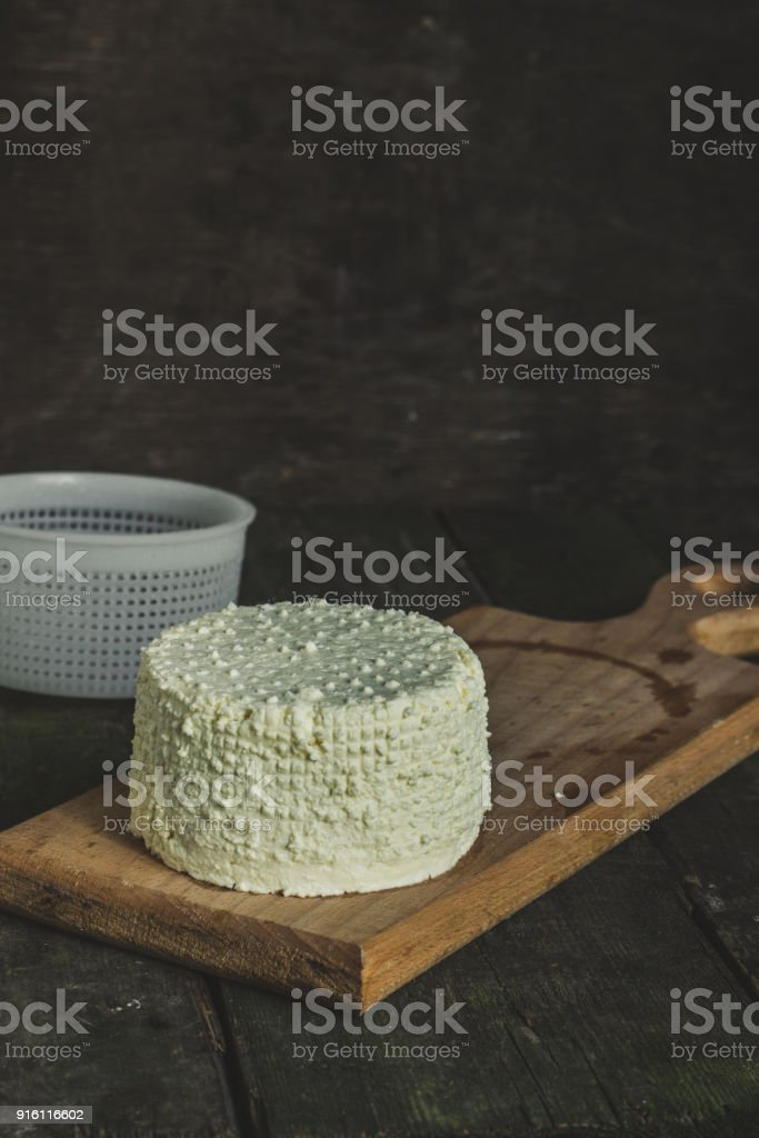 a cheese making process using molds stock photo