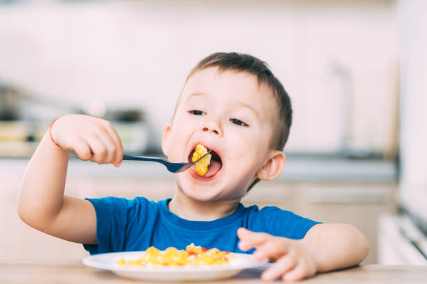 a child in a t-shirt in the kitchen eating an omelet, a fork a child in a t-shirt in the kitchen eating an omelet, a fork eating stock pictures, royalty-free photos & images