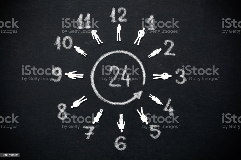 a circle of people, watches 24 hours stock photo
