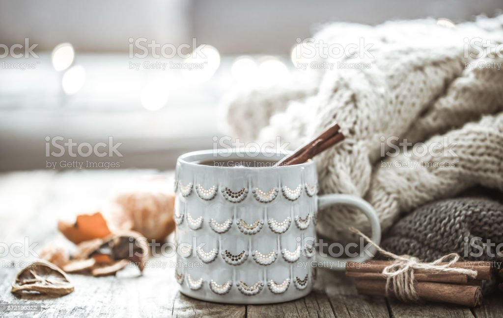 a cozy Christmas tea Cup still life stock photo