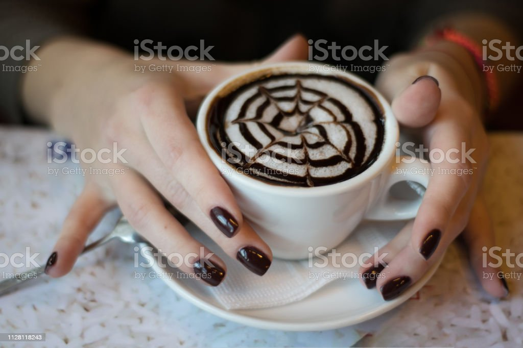 A Cup Of Coffee Cappuccino Latte In Beautiful Female Hands Coffee Mood Cheerful Morning In A Cafe Wallpaper Stock Photo Download Image Now Istock