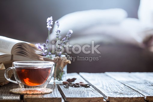 859424970istockphoto a cup of tea with a book in the interior 995683848