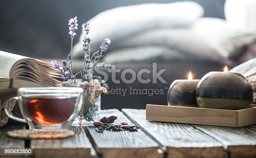 859424970istockphoto a cup of tea with a book in the interior 995683850