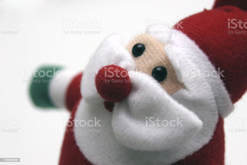 a ' cute ' christmas santa puppet - soft focus & angled royalty-free stock photo