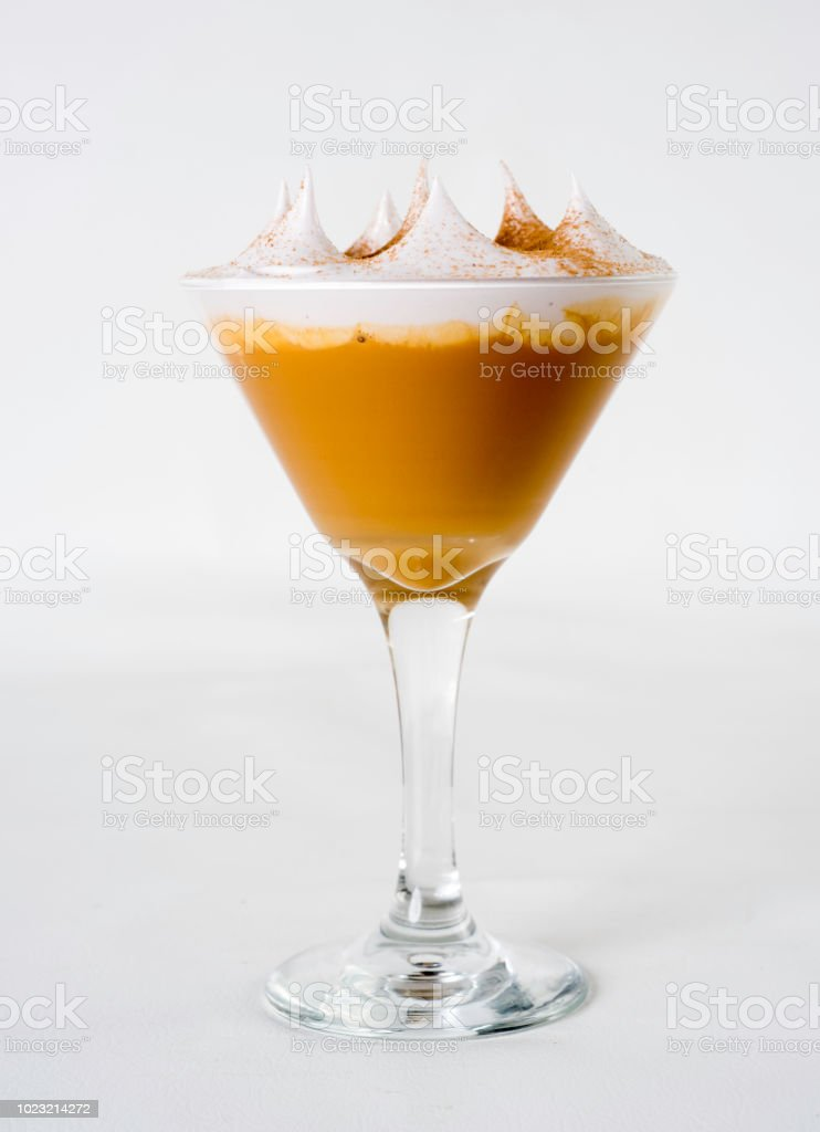 a dessert of Peruvian gastronomy postre tradicional peruano llamado Suspiro a la Limeña stock photo