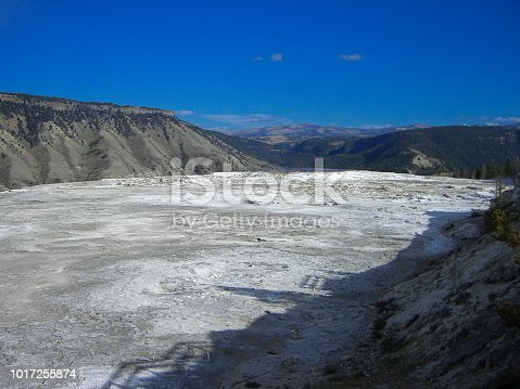 a dry lake in the rocky mountains at summer