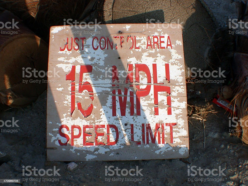a ' dust control area ' 15 mph sped limit royalty-free stock photo