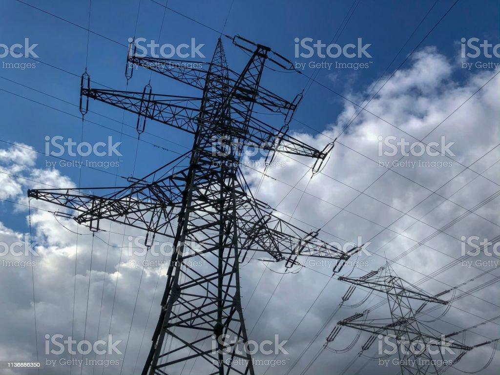 a electricity pylon stock photo