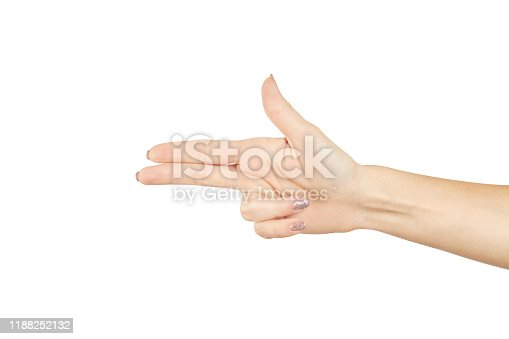 istock a female person showing gun or pistol gesture isolated on a white background. number three gesture. 1188252132
