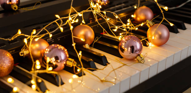 a festive atmosphere playing the piano stock photo