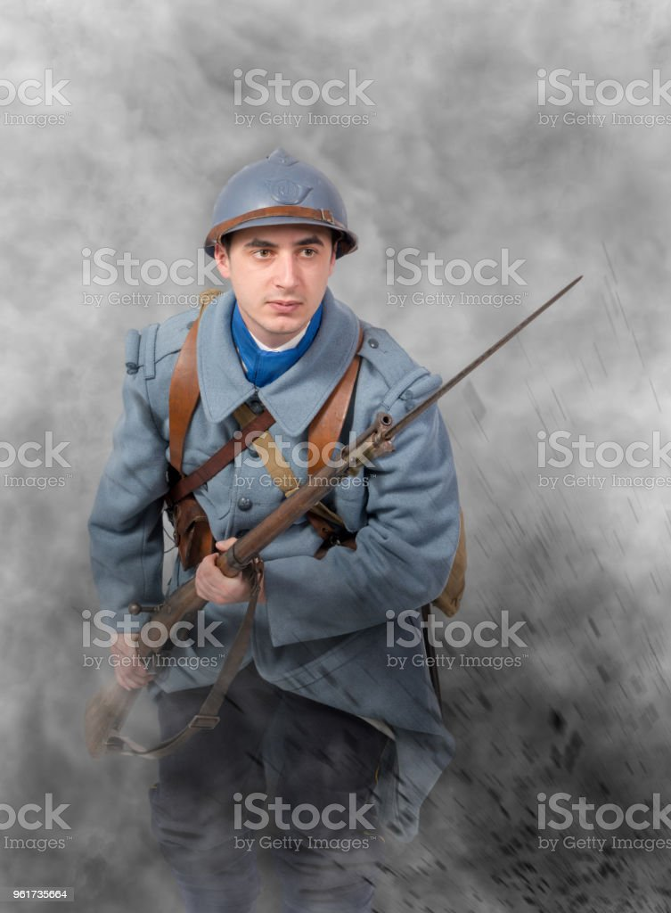 a French soldier 1914 1918 attack, November 11th stock photo