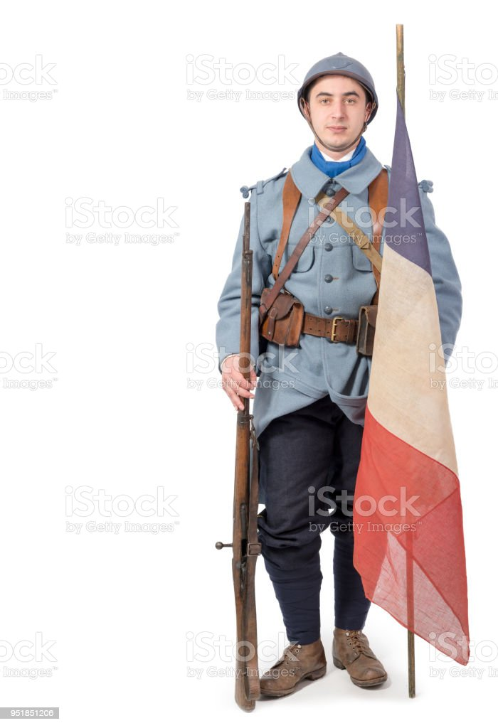 a french soldier 1914 1918 isolated on a white background stock photo
