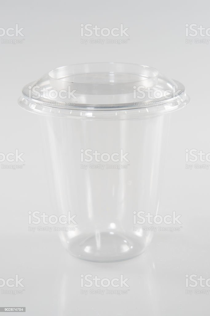 a glass of plastic for take-out stock photo