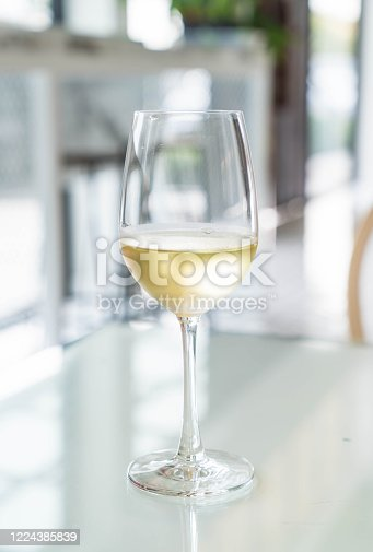 a glass of sparking wine in restaurant