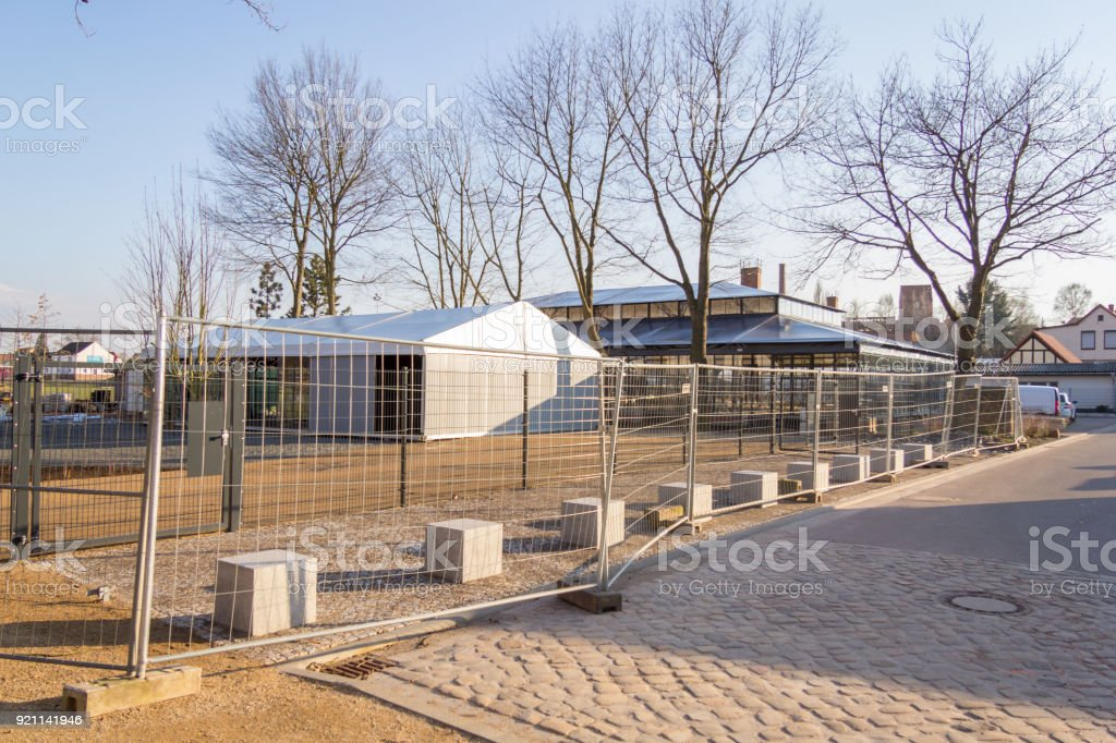 a glasshouse building near a garden from the horticultural show stock photo