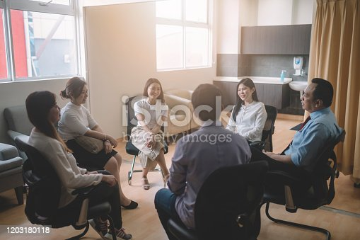 a group of asian patient working on therapy session in hospital