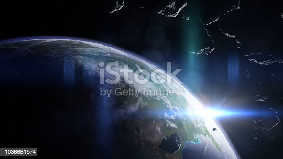 istock a group of asteroids moving towards planet Earth 1036681574