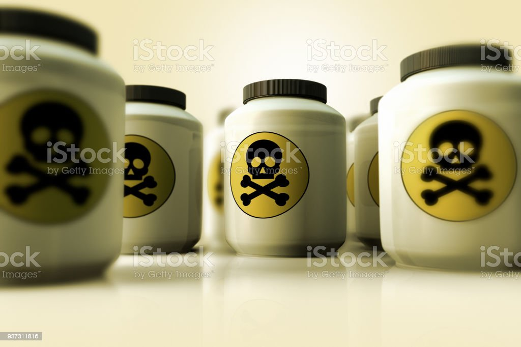 a group of bottles of poison - Royalty-free Alertness Stock Photo