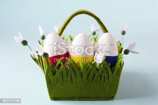 istock a group of funny colorful eggs in a basket - a concept of merry Easter, funny characters, emotions. 922774198