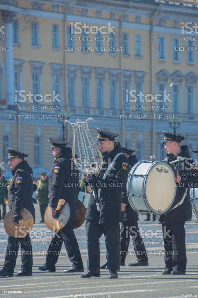 a group of military brass orchestra at the rehearsal of the victory parade stock photo