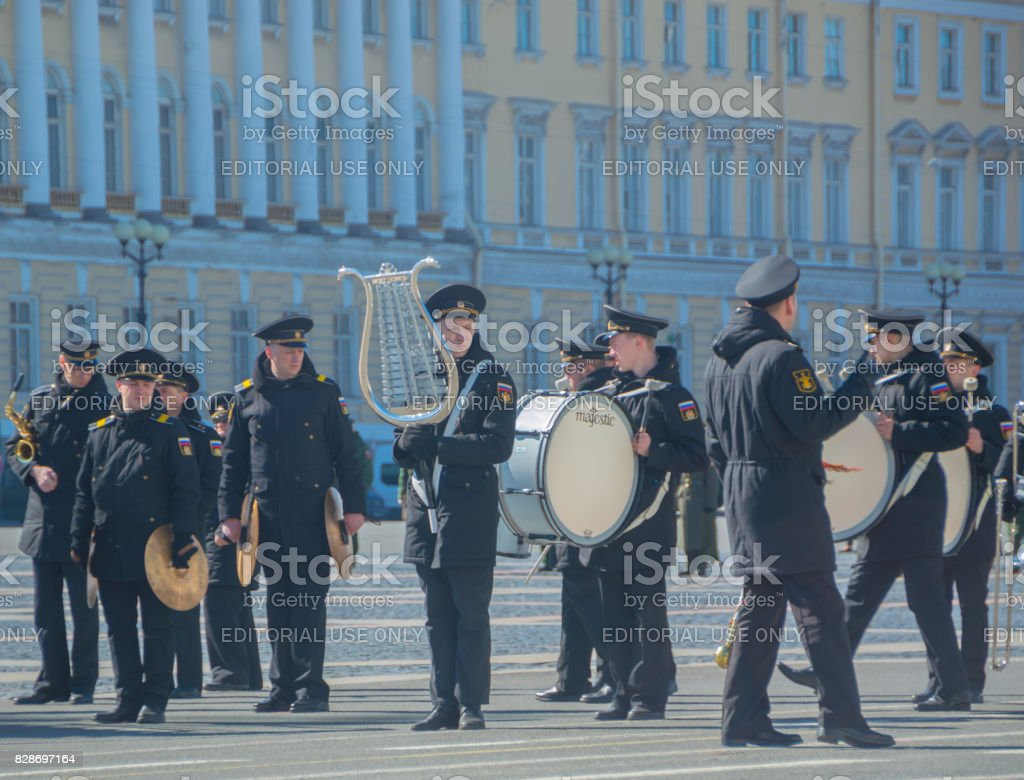 a group of military brass orchestra prepares for a rehearsal of the victory parade stock photo