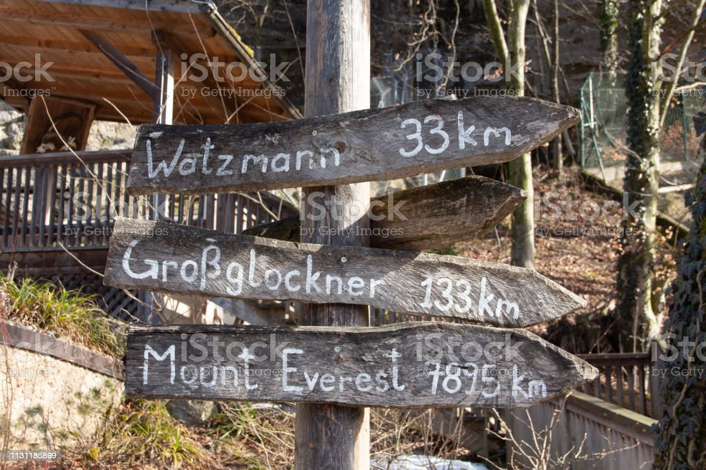 a guidepost in zoo salzburg stock photo