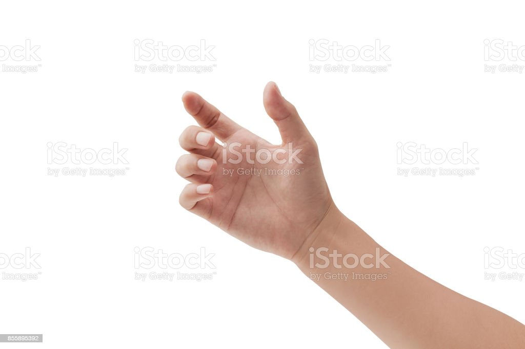 a hand holding something like a bottle or smartphone on white backgrounds, isolated stock photo