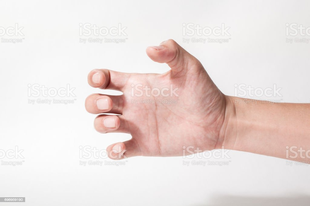 a hand something like a bottle on white backgrounds stock photo