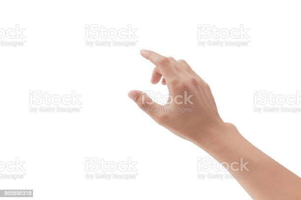 A hand touching something like a button or display device on white picture id855895318?b=1&k=6&m=855895318&s=612x612&h=dw5pubrlde1iy62kx6s7whu9zqhithde4ev8ejbcnfo=