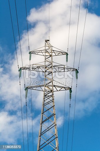 a high voltage power pylons against blue sky, power line