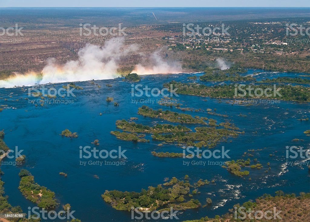 a landscape view of a bird eye view on the lake with steam royalty-free stock photo