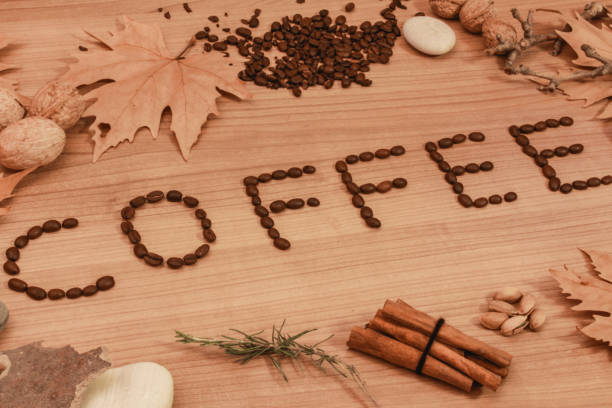 a letter of coffee with coffee beans stock photo