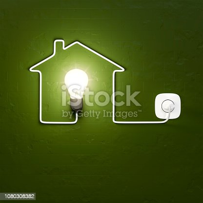 3d rendering of a light bulb building a house with the cable