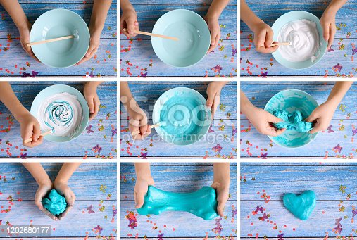 istock a little girl hands making slime herself on blue wooden background. collage 1202680177