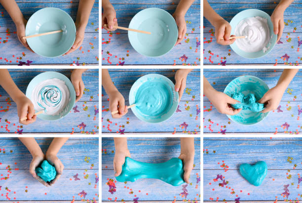 a little girl hands making slime herself on blue wooden background. collage slime, making, hand, children, collage, toy, background, blue, bowl, bright, caucasian, child, clever, closeup, concept, craft, diy, do it yourself, education, experiment, flat lay, fun, girl, glue, goop, happy, hobby, hold, holding, ingredient, kid, lifestyle, little, messy, mix, mixing, mold, molding, play, preschooler, recreation, scenes, science, scientist, squeeze, sticky, top view, trendy, tutorial, wooden slimy stock pictures, royalty-free photos & images
