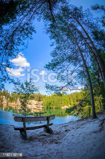 panoramic view of a small lake between rocks and trees