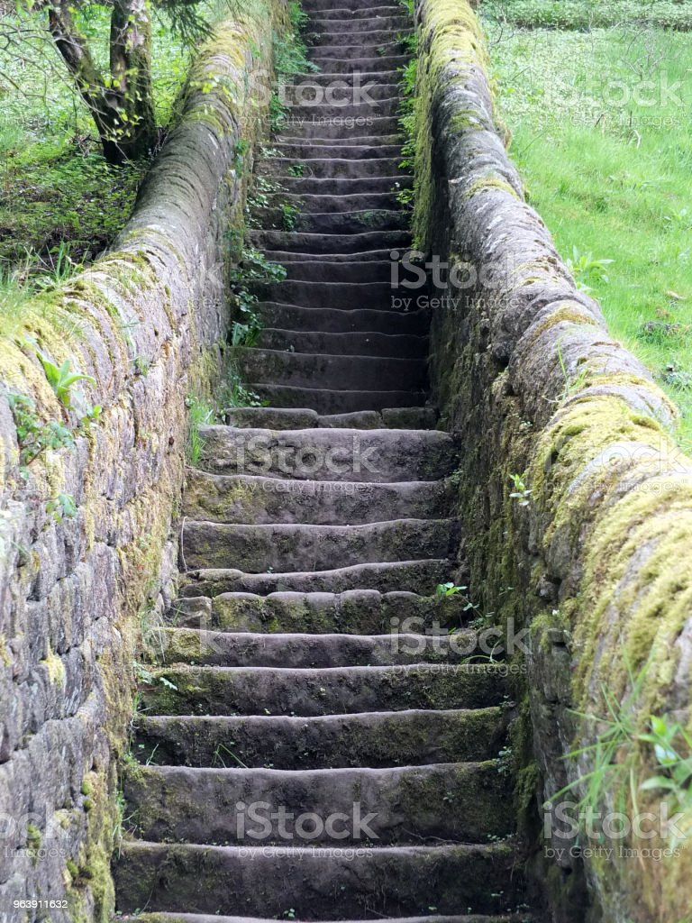 a long flight stone stairs in nature with walls and fields - Royalty-free Ancient Stock Photo