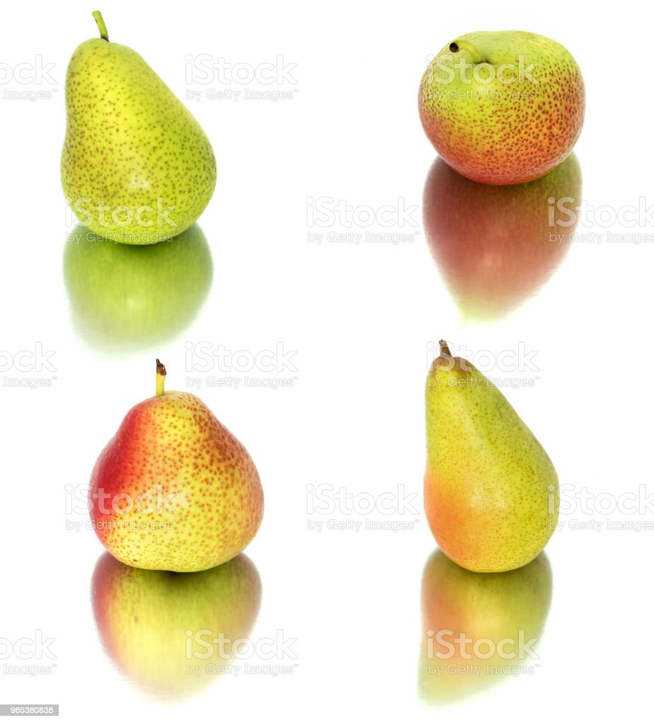 a lot of big, ripe, bright pears. pears on a white background, whole and in cross section. - Zbiór zdjęć royalty-free (Białe tło)